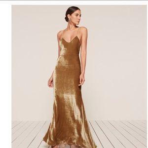 ISO REFORMATION VELVET GOLD RImini DRESS XS